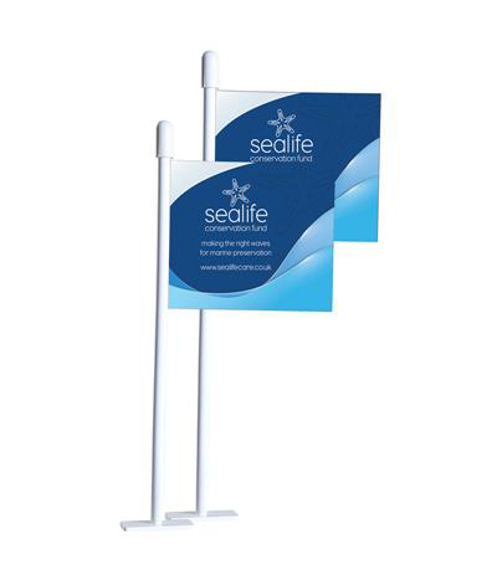 Mini paper desk flags personalised with a full colour print to advertise a company