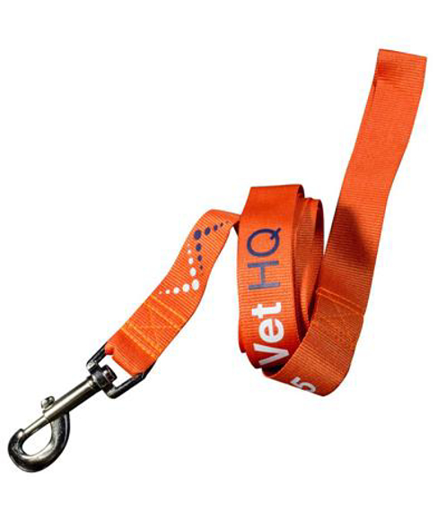 Dog Lead - 25mm in orange with 2 colour print logo