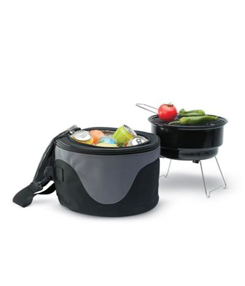 Donau BBQ Cooler Bag in black and grey open