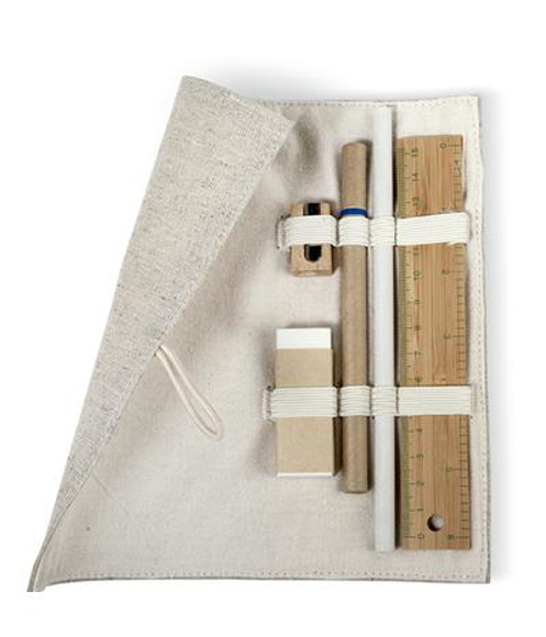 Eco Friendly 6 Piece Stationary Set in pouch held in with elastic straps