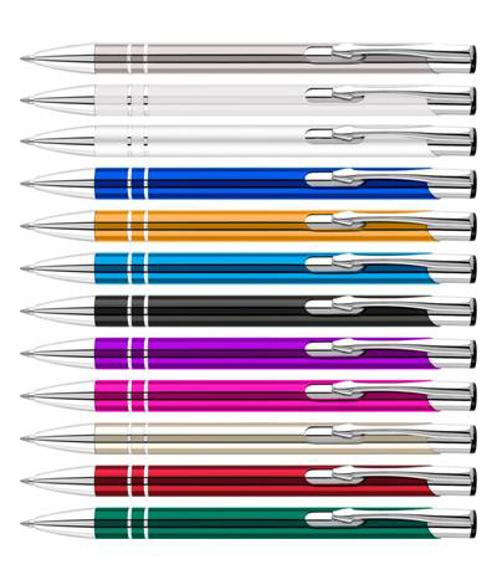 Shiny metal lightweight ballpen in a range of colours
