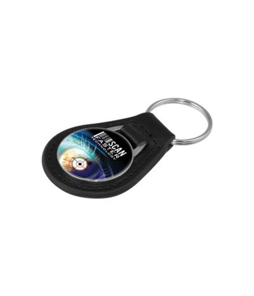 fob style leather keyring with metal branded plate stitched onto the top