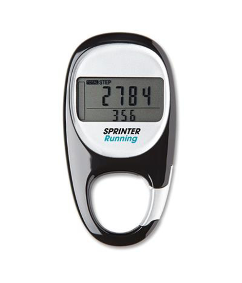 black fancy pedometer with digital screen and two colour logo