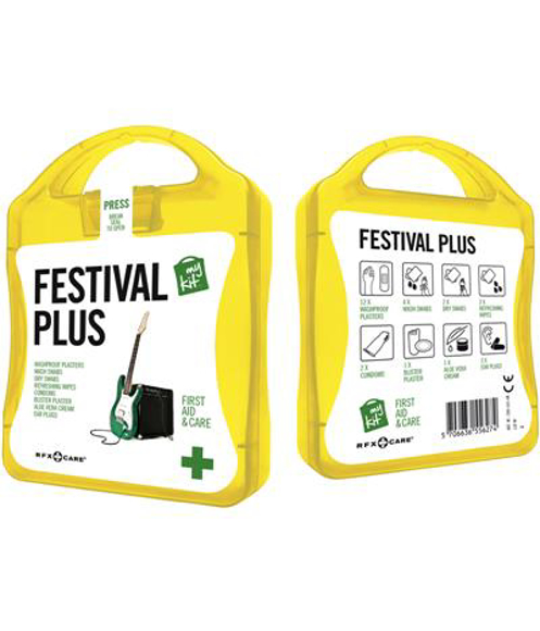 hellow festival first aid kit with white contents label