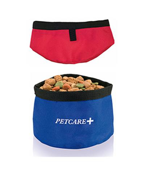 foldable pet food bowl in red and blue