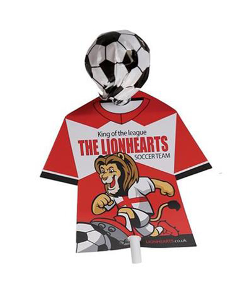 Promotional lollypop with football wrapper and printed card tshirt sleeve