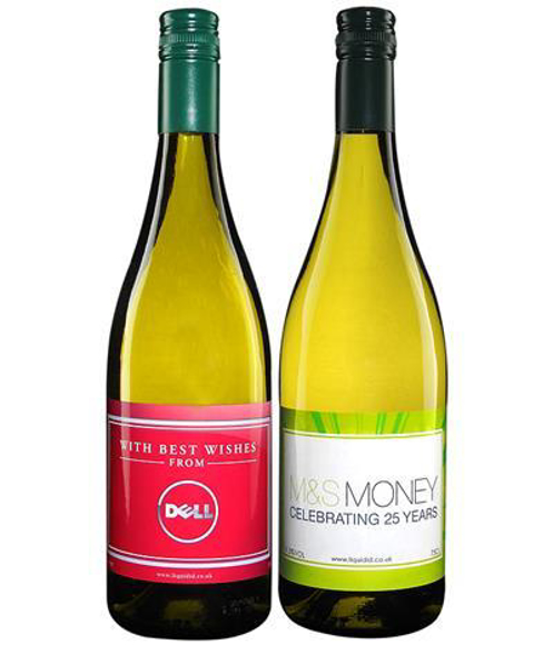 White wine bottles with personalised labels printed in full colour