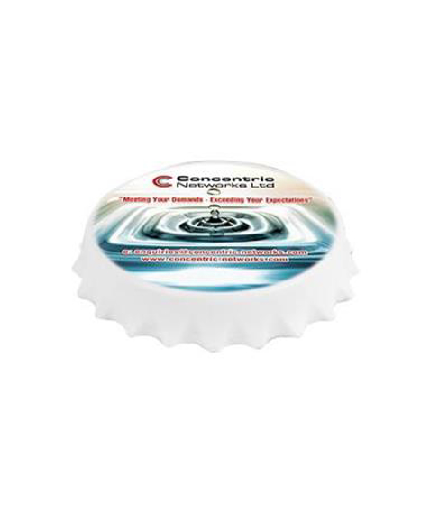 white fridge magnet shaped like a bottle cap with a full colour print to top