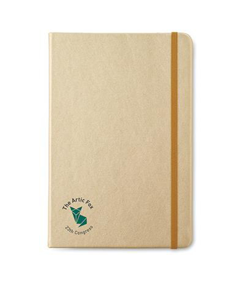 A5 goldies notebook with PU cover in gold with gold elastic closure strap and 2 colour print logo