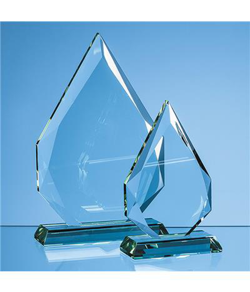 Jade Glass Facetted Diamond Peak Award with engraving