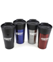 4 stainless steel travel mugs with black lid and 1 colour branding