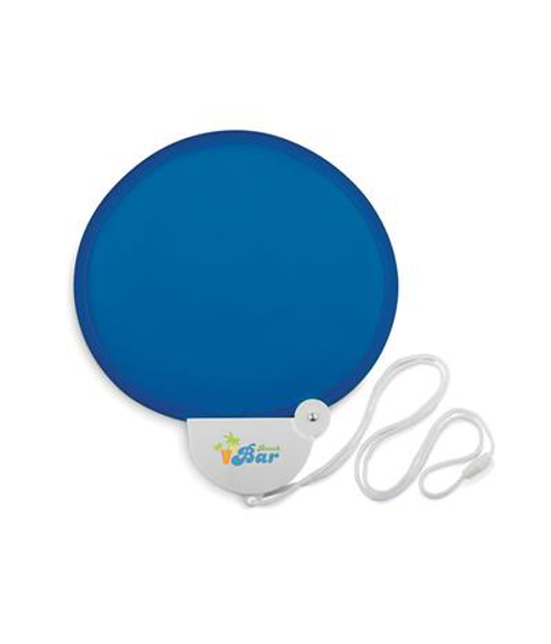 Medan Foldable Fan in blue with 4 colour print logo