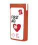 red slim mini first aid kit with contents label
