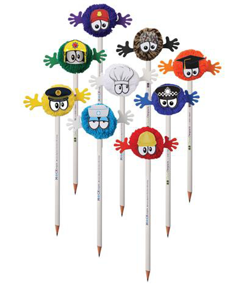 Pencils with mophead toppers in various designs