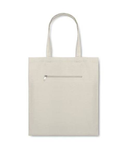 Natural canvas bag with short handles and small zip compartment on the front
