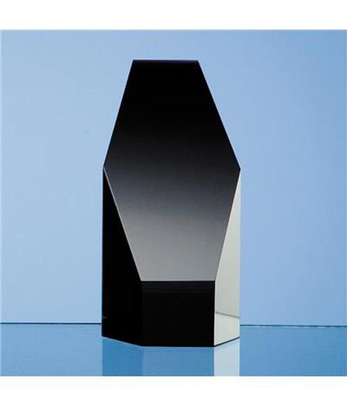 Onyx Black Optical Crystal Hexagon Award