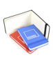 Parsonage jotter in black, blue and red with colour matching elastic closure strap with lined paper and 1 colour white print logo