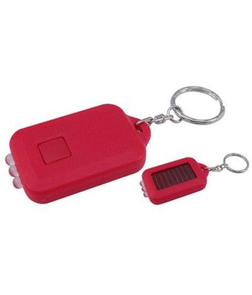 Plastic Solar Torch Keyring  in red