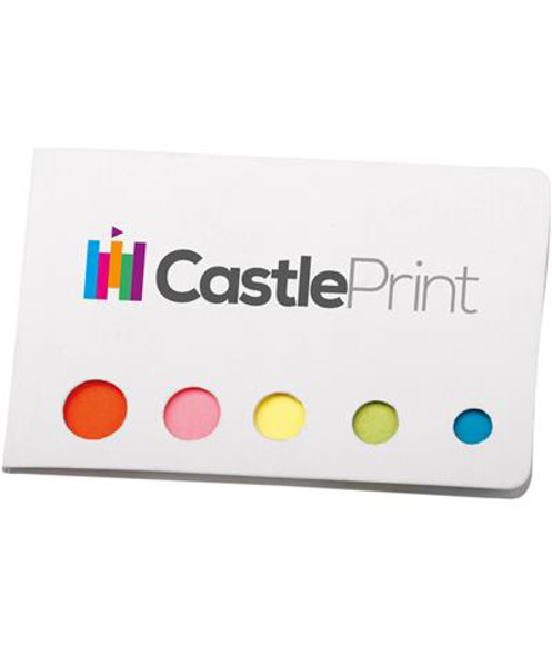 Pocket Note with 5 colourful sticky note flag and notes in white with full colour print logo