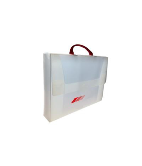 white polypropylene folder carry case with 1 colour branding to front