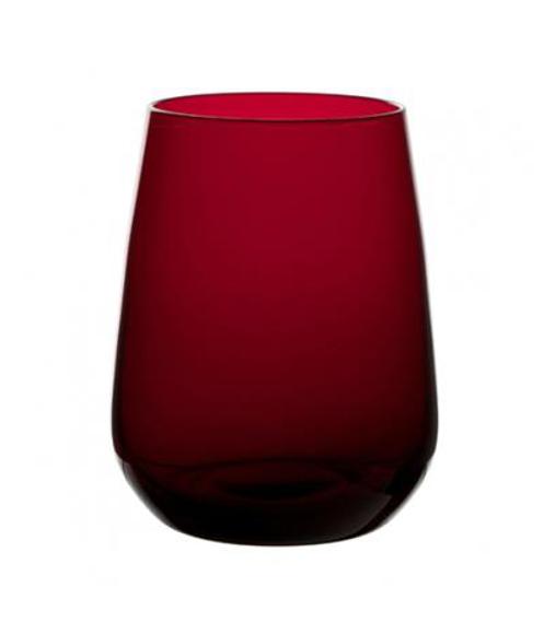 a red tumbler glass in a tulip shape