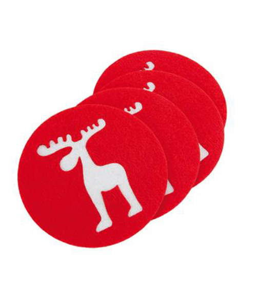 Felt Coasters in red with white Reindeer