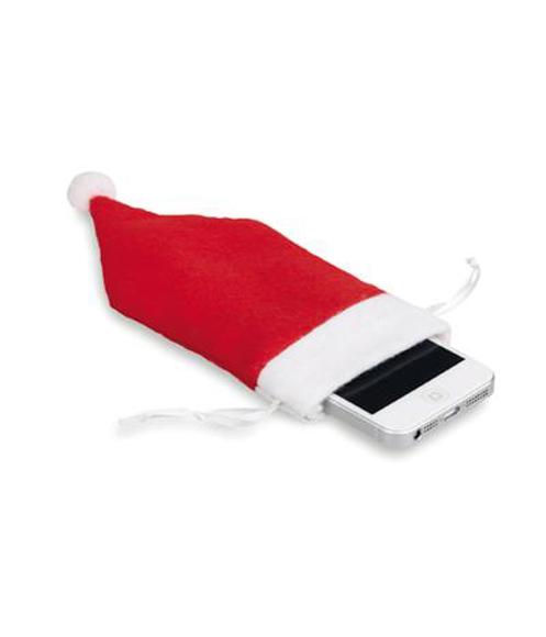 Santa Hat Phone Holder in red and white