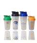 4 protein shakers in different sizes with coloured lids