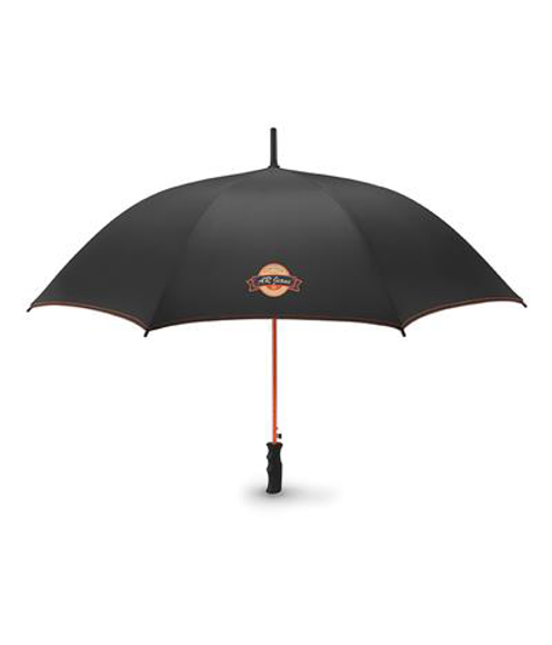 Skye Umbrella in black with red details and full colour print logo