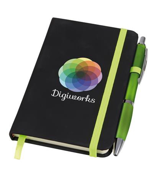 Small noir notebook with green ribbon, elasticated closure strap and pen loop with green pen and digital print