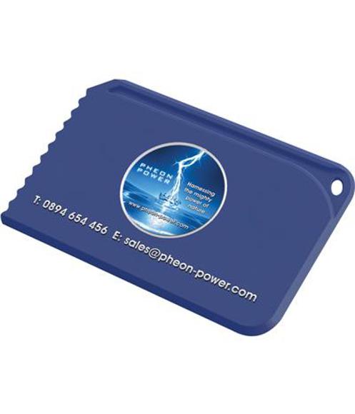 Snap Credit Card Ice Scraper in blue with digital print
