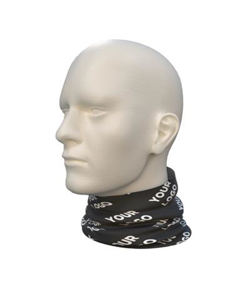 Snood in black with white print