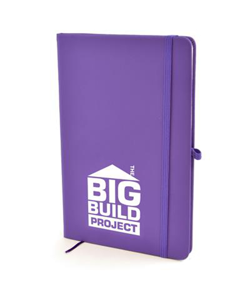 A5 soft touch notebook in purple with colour match ribbon, elastic closure strap and pen loop with 1 colour white print logo