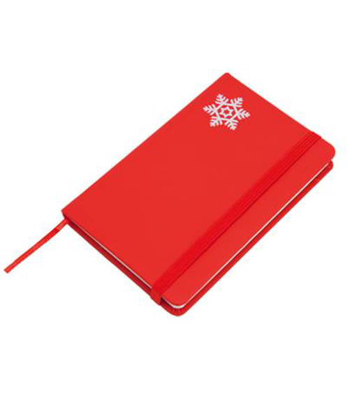 Spirit Christmas Notebook in red with white snowflake in corner
