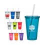 Stadium cup with lid and straw available in many colours