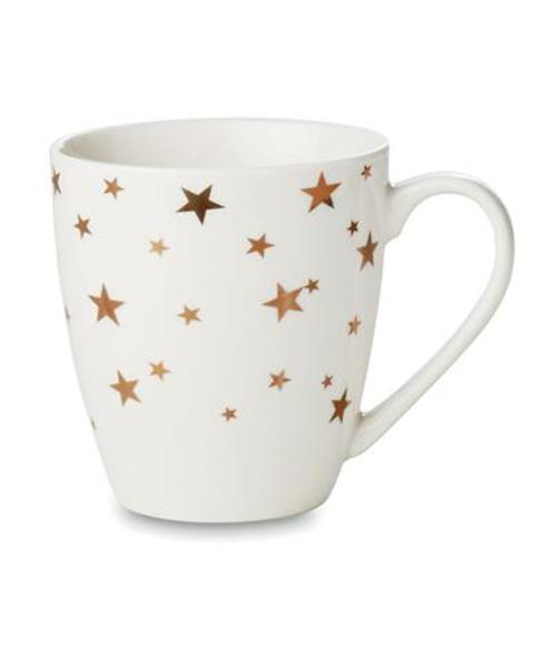 White Christmas mug with gold stars