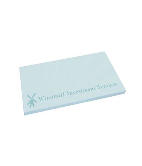 Sticky Mate landscape note pad with 50 sheets in pastel blue with 1 colour print logo