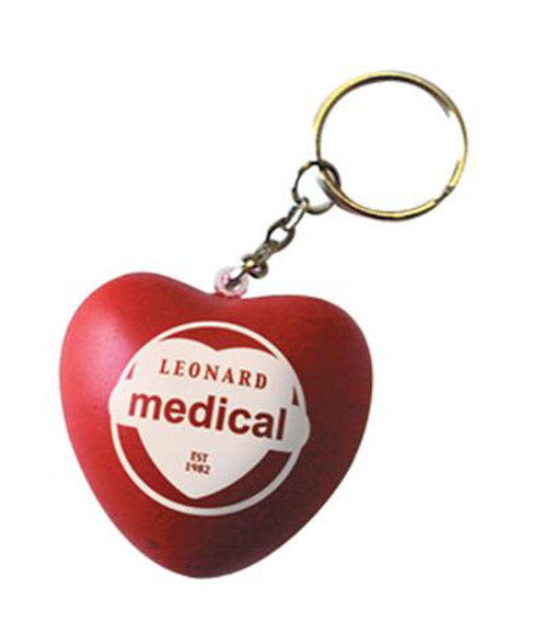 Stress Heart Keyring in red with one colour print logo