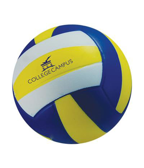 Stress Volley Ball in yellow, blue and white stripes with 1 colour logo