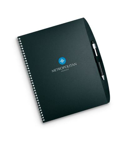 A4 Studious notebook with PP cover in black with wire binding and matching ball pen with 2 colour print logo