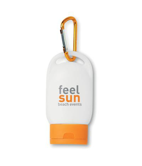 Suncare Lotion in white and orange with 2 colour print logo and orange carabiner