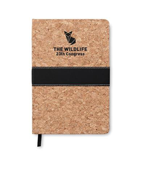 A5 Suro cork cover notebook with black strap and ribbon with 1 colour back print logo
