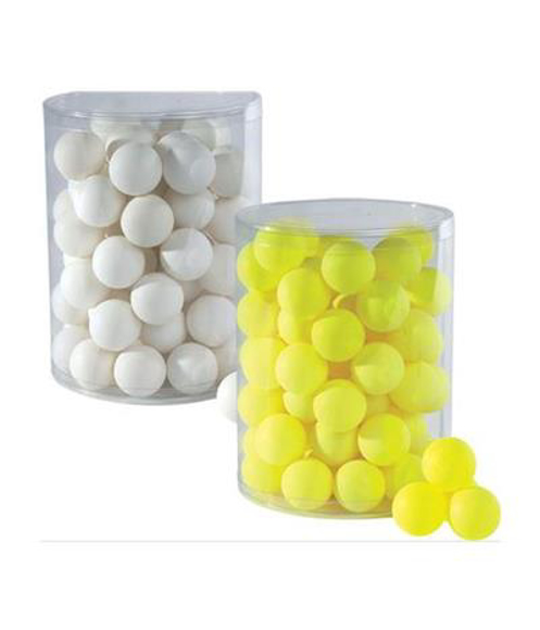 a plastic clear tub of white ping pong balls and another clear plastic tub of yellow ping pong balls
