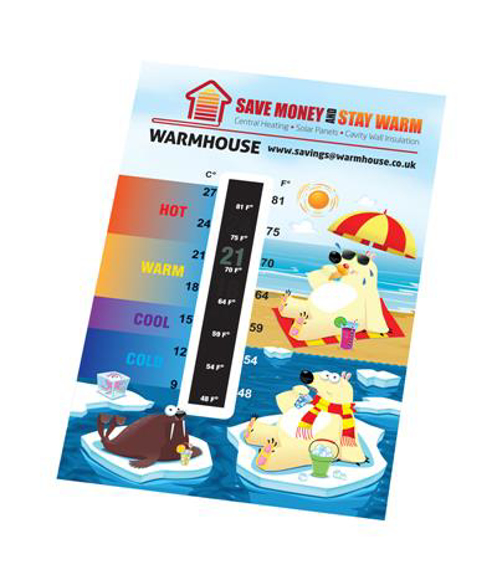 temperature gauge card with fun cartoon imagery indicating hot and cold