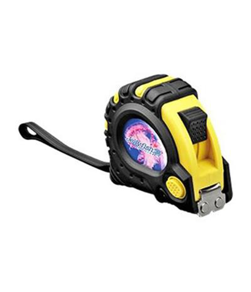 yellow and black textra measuring tape with full colour branding