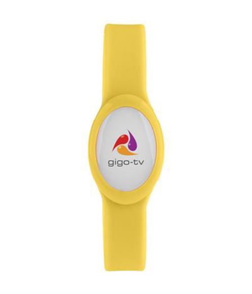 Tico LED Bracelet in yellow with 4 colour print logo