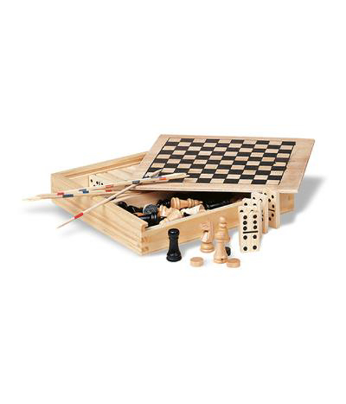 a wooden box with a chess board design to lid containing multiple wooden board games
