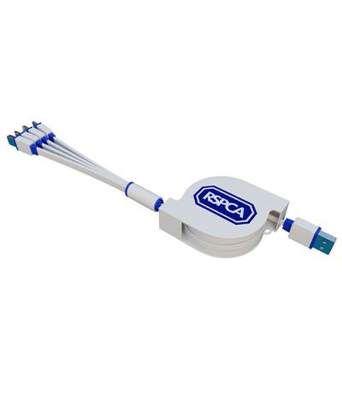 Extendable Multi Charger in white and blue with 1 colour print logo