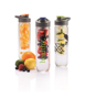 3 water bottles with fruit infusers and corporate branding