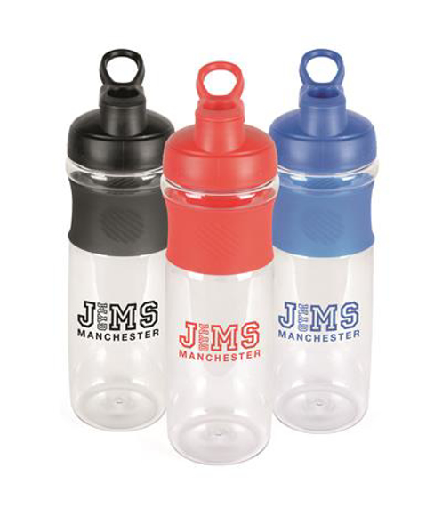 three westfield sports bottles in red, black and blue